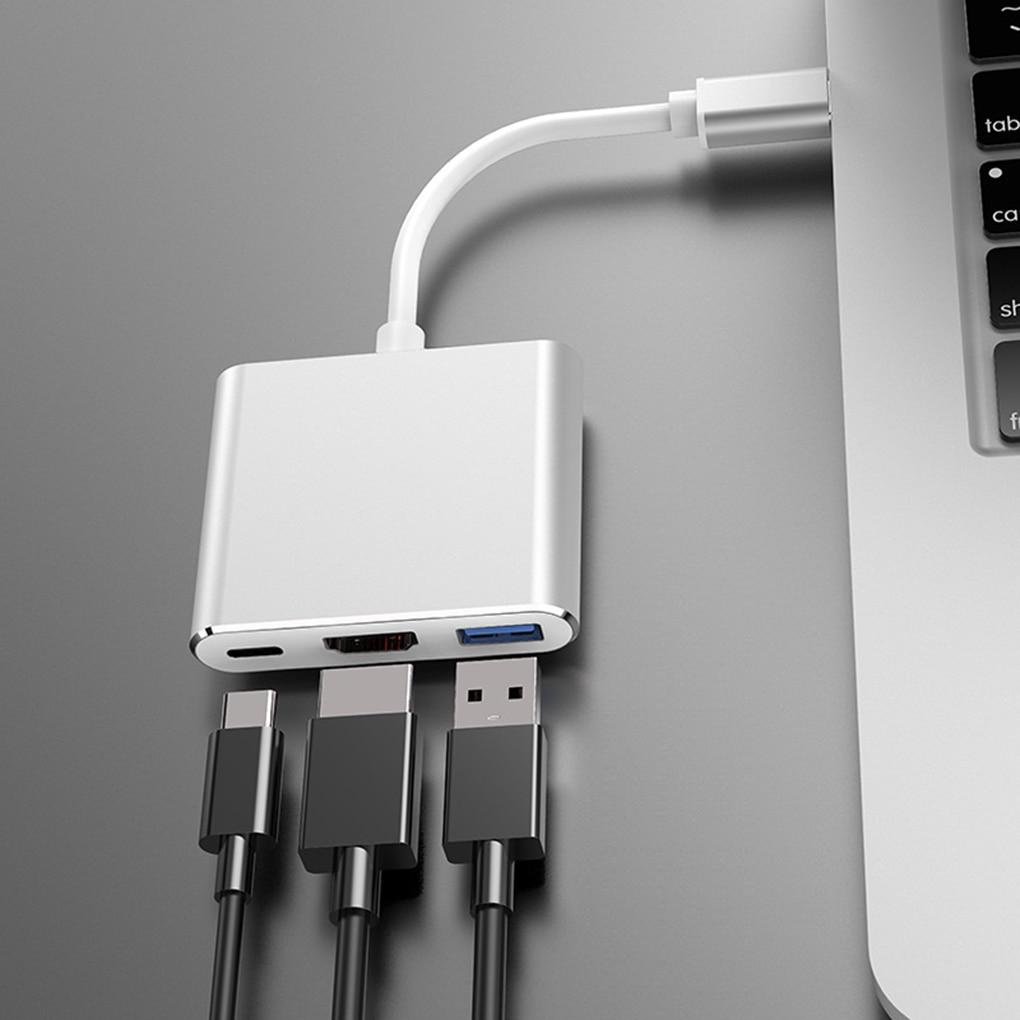 Usb c hub tipo-c para vga usb3.0 pd adaptador de carregamento portátil conversor de cabo docking station adaptador de telefone