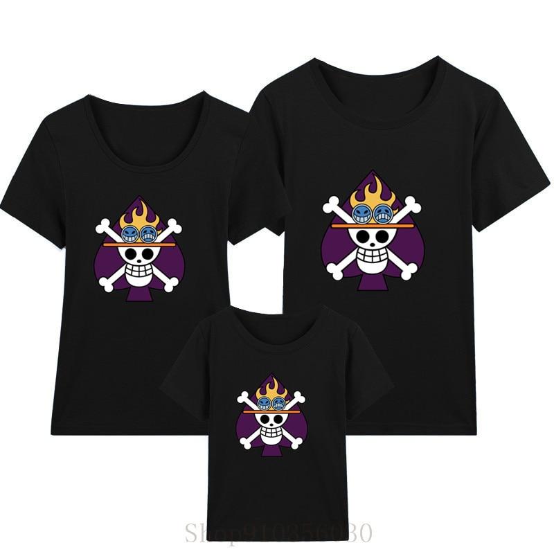 Ace bandeira de uma peça pirata rei pai-filho roupa das crianças roupas família combinando roupas de geminação mãe e filha