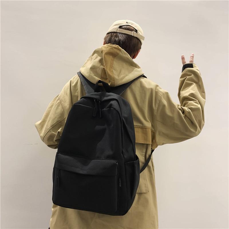 HOCODO Men Backpack New Solid Color Fashion School Bag For Teenage Backpacks Unisex Shoulder Travel