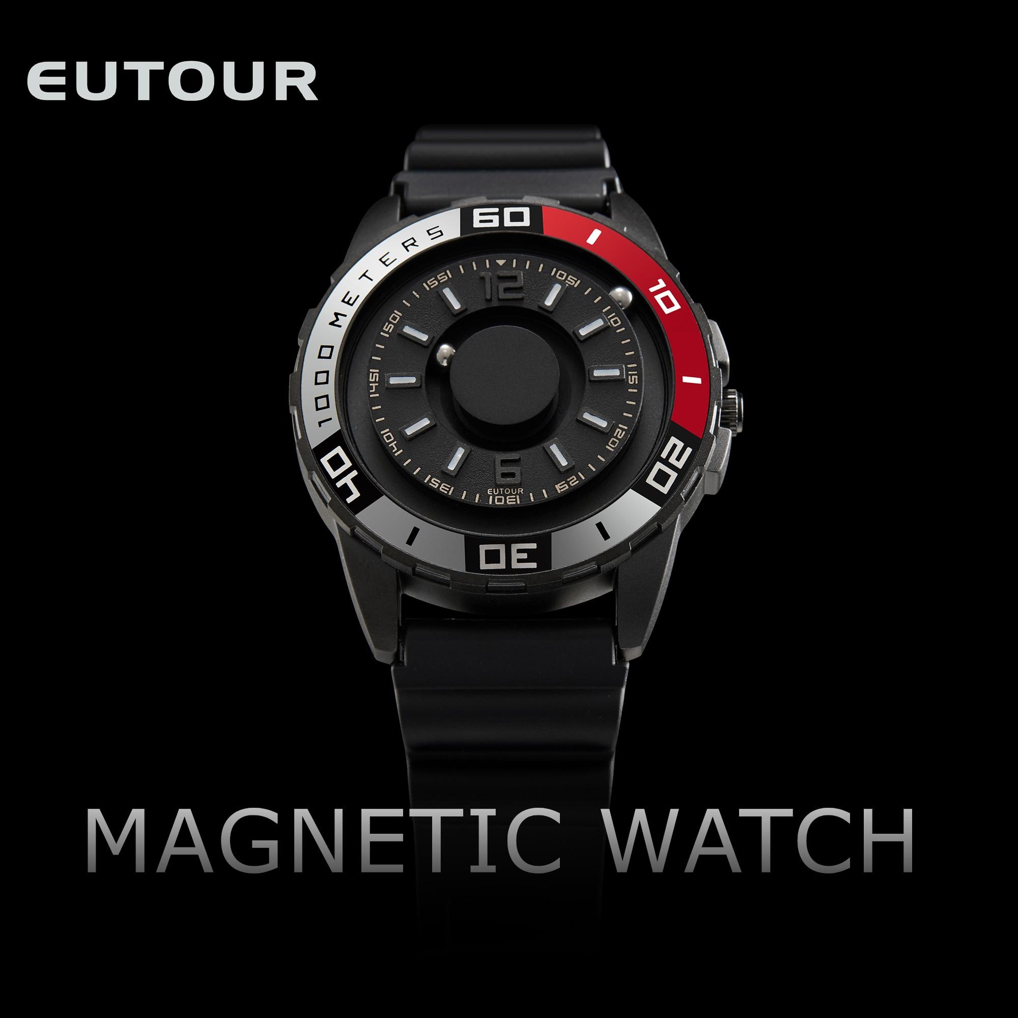 ساعة كوارتز مغناطيسية للرجال ، فريدة من نوعها ، مع مؤشر كرة معدني ، متعددة الوظائف ، لمسة عمياء ، عصرية ، مطاط ، رياضي ، حزام قماش