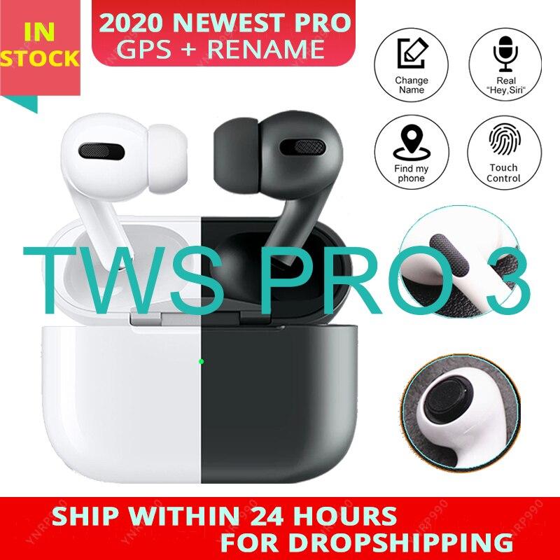 Air Pro 3 TWS Blackpods airpoding Rename GPS Bluetooth Auriculares auriculares inalámbricos auriculares estéreo i900000 TWS Pro 3
