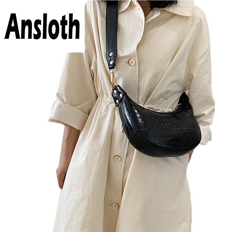 Ansloth Crocodile Pattern Hobos Bag Lady Luxury Design Shoulder Bag Women Bag Solid Color Crossbody Bag Female Small Bag HPS721