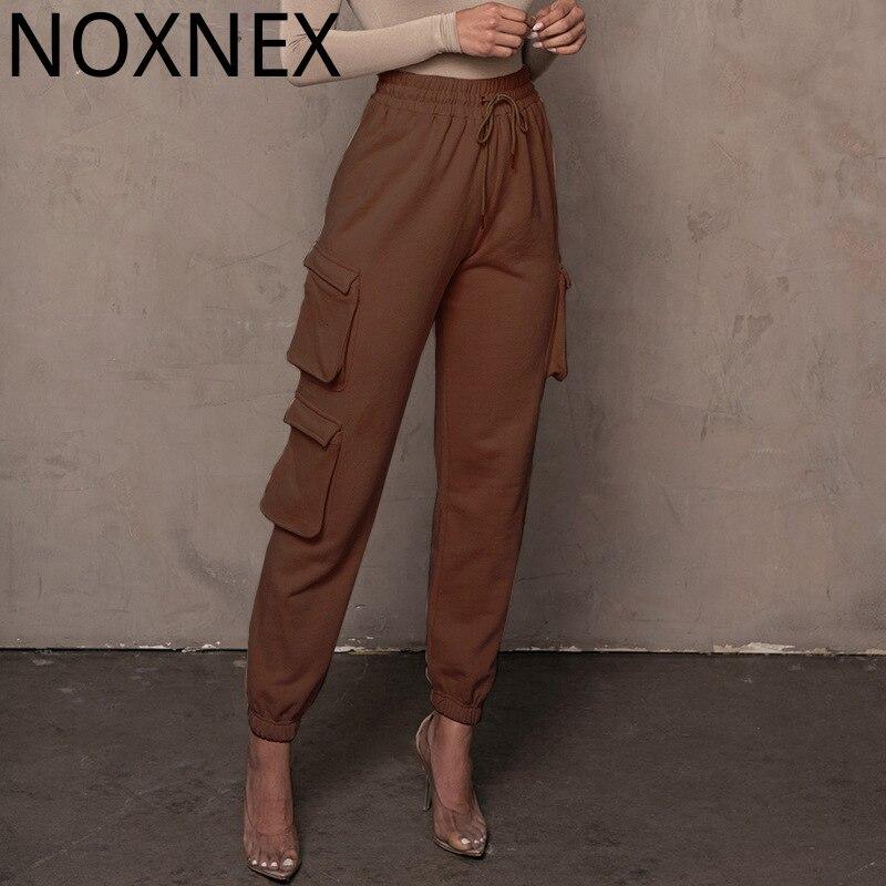 Брюки NOXNEX женские свободные, уличная одежда, эластичные спортивные штаны с завязками, зимние однотонные брюки-карго с высокой талией для же...