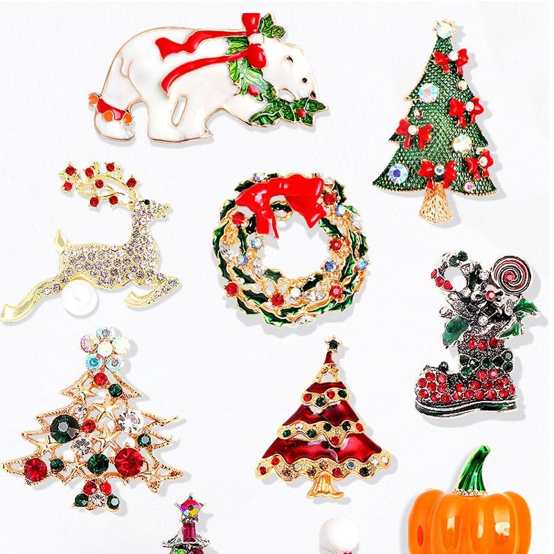 Enamel Snow Tree Brooches For Women Unisex Rhinestone Christmas Tree New Year Brooch Pin Gifts imitation pearls christmas tree brooch pin women fashion rhinestone brooches xmas new year gift