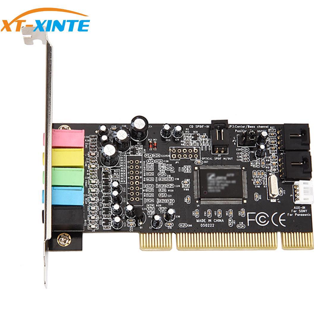 XT-XINTE PCI كارت الصوت 5.1CH 5.1 قناة CMI8738 شرائح جهاز التحكم في الصوت PCI-Express 5.1 ستيريو بطاقة رقمية سطح المكتب Soundcard