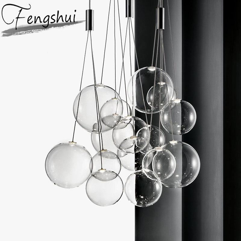 Luces nórdicas colgante de burbuja de cristal iluminación barra lámpara colgante comedor sala de estar dormitorio desván decoración del hogar colgante accesorio de luz