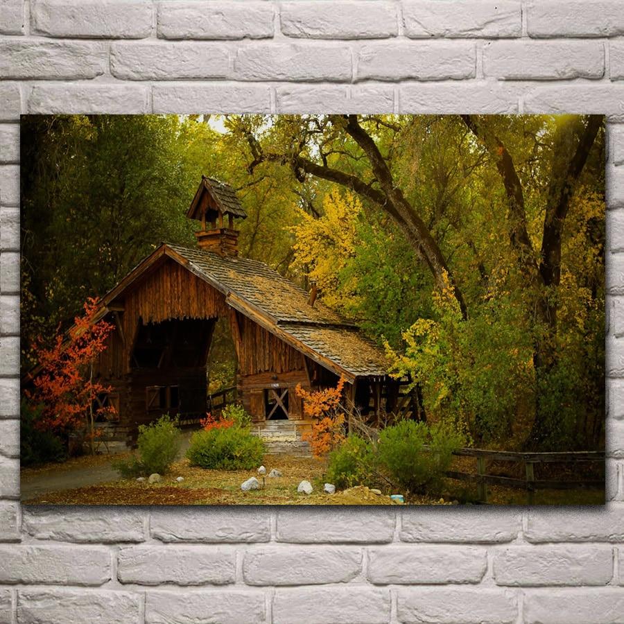 Naturaleza montaña bosque paisaje niebla casa árbol papel pintado Sala hogar pared arte moderno decoración marco de madera y tela póster KA171