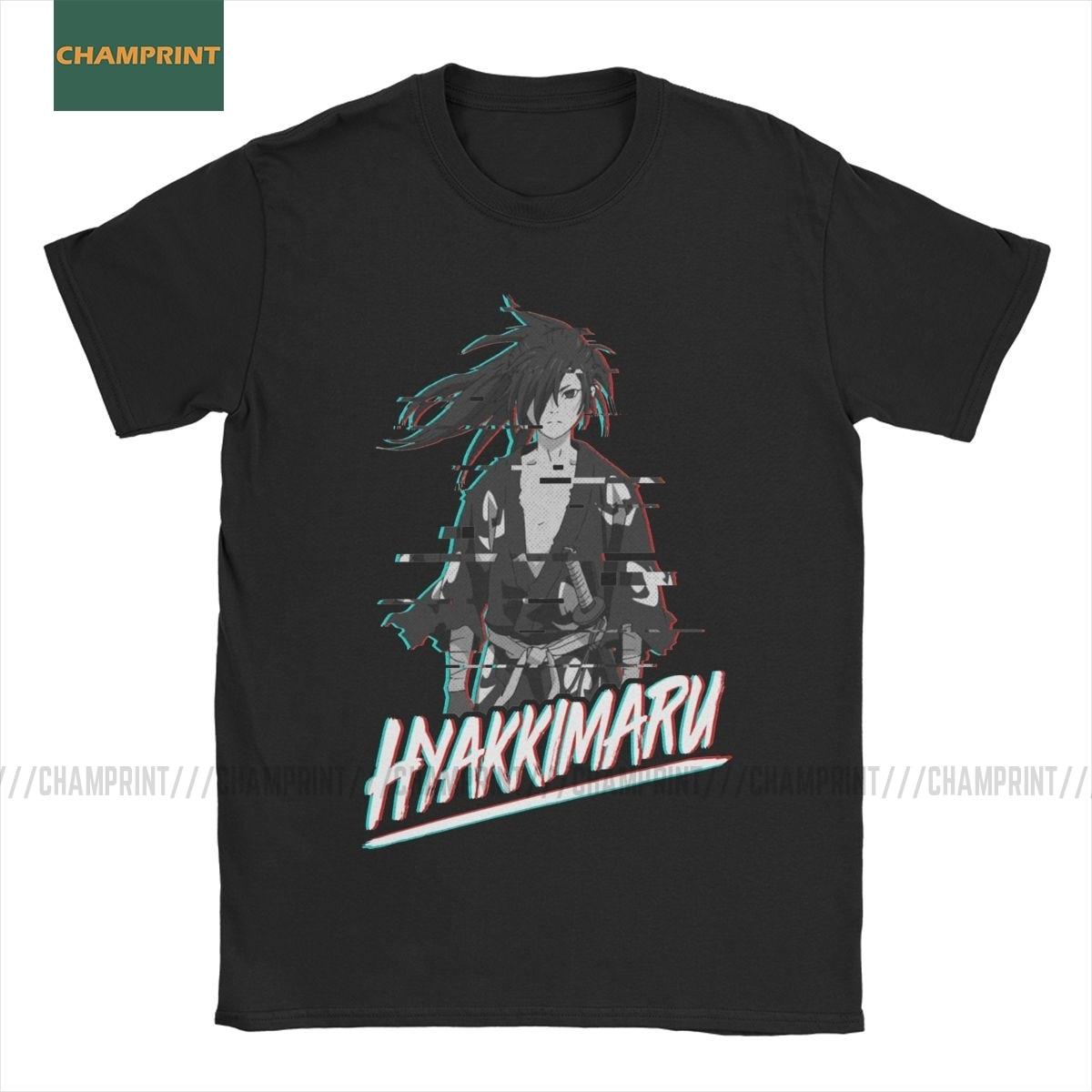 Camisetas Vintage Hyakkimaru Glitch Dororo, camisetas de algodón para hombres, camisetas de Manga corta de Anime Sword Naruto Demon Katana, camisetas de talla grande