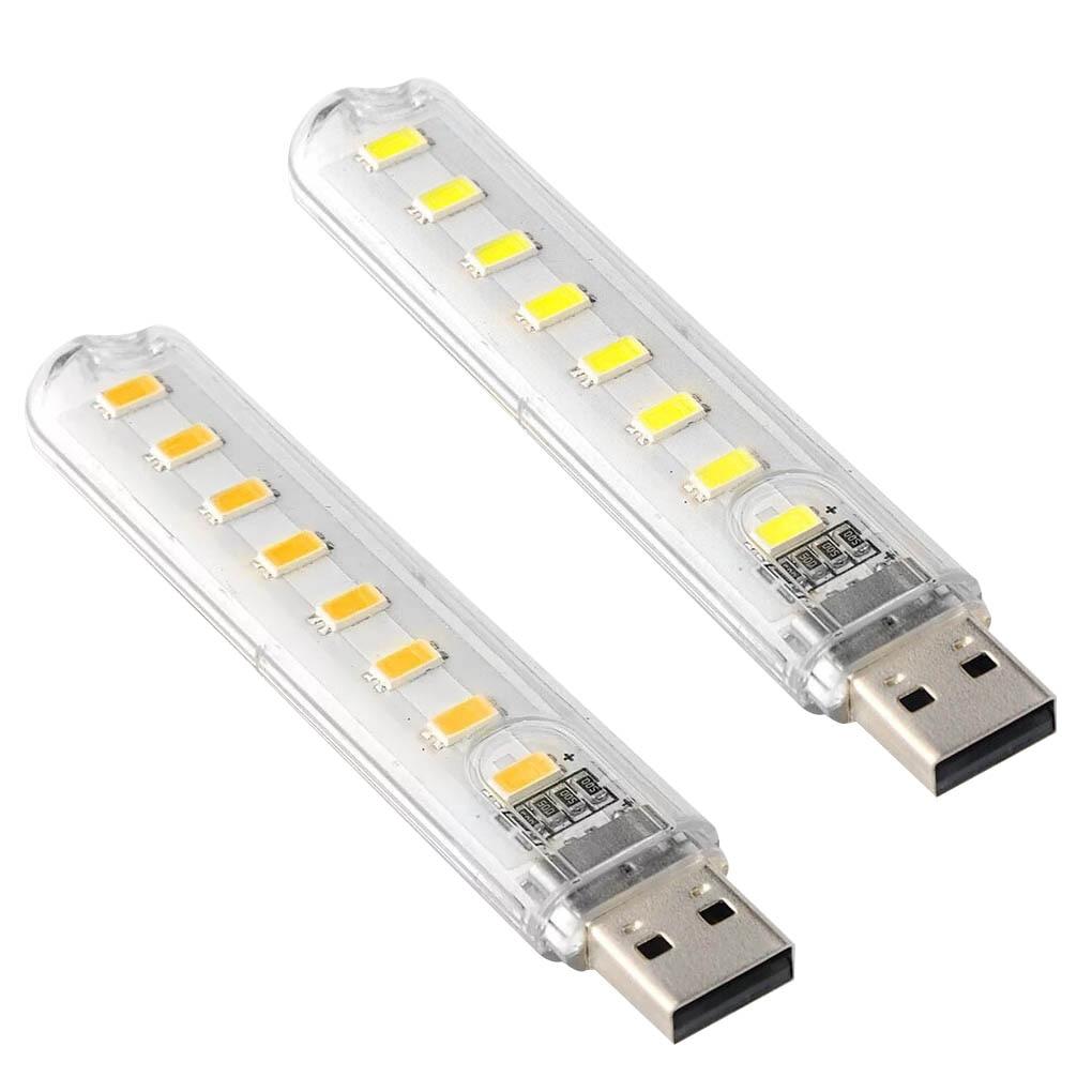 Mini Portable USB LED Book Light DC5V Ultra Bright Reading Book Lamp 8leds Lights For Power Bank PC Laptop Notebook