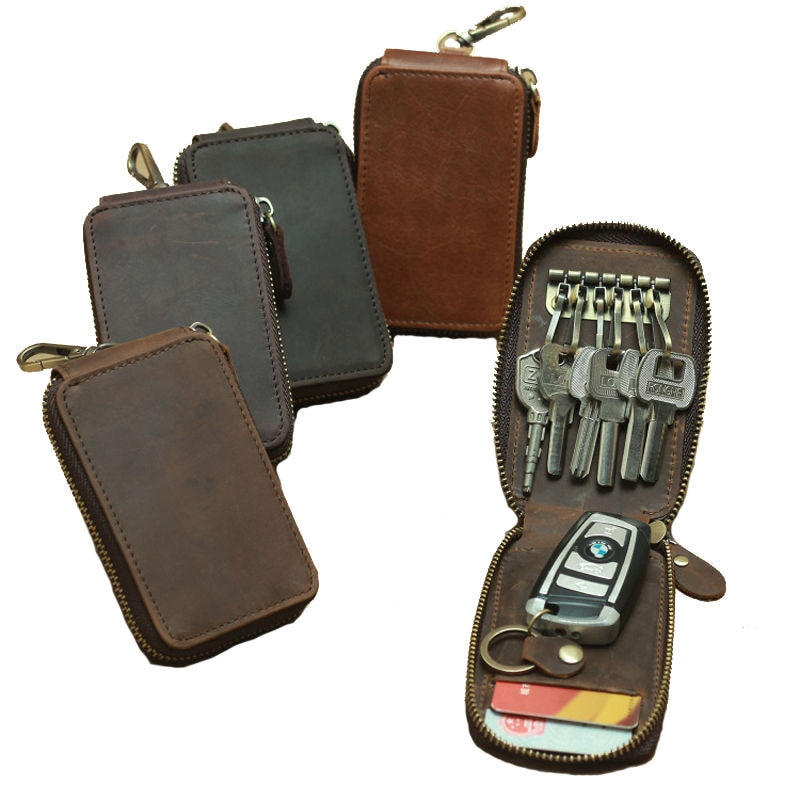Cow Leather Orbitkey Keychain Car Key Case Crazy Horse Leather Protector Keys Holder Business Men Card Holder Women Home Door
