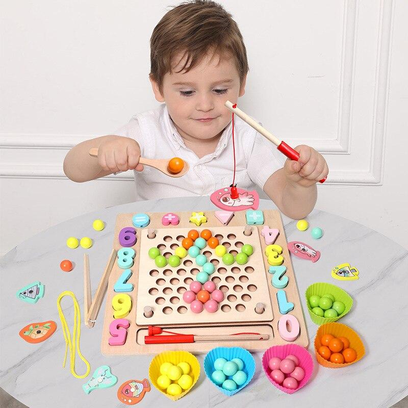 Drewniane zabawki montessori prezent ręce trening mózgu klip koraliki Puzzle gra planszowa matematyka dzieci wczesne zabawki edukacyjne gra wędkarska