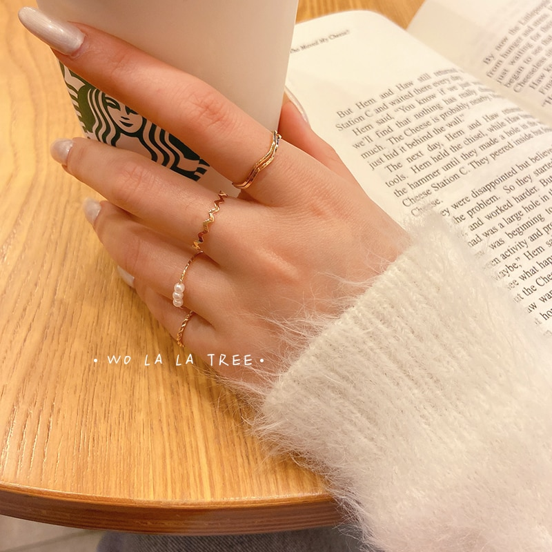 Simple Bracelet Stylish Combination Set Rings Female Cool Ins-Music of the Tide Simple Versatile Ind