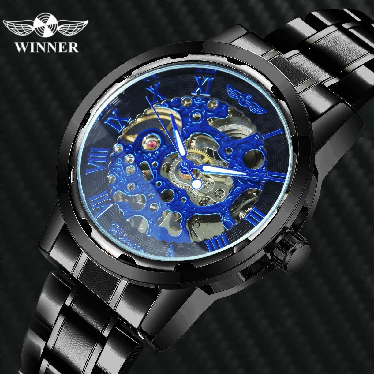 Механические часы WINNER для мужчин, модные часы со скелетом, ремешок из нержавеющей стали, светящиеся стрелки, мужские наручные часы, платье, ...