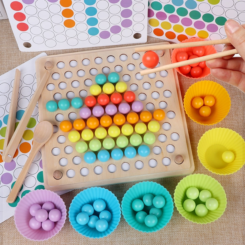 Wooden Beads Game Montessori Baby Educational Early Learn Children Clip Ball Puzzle Preschool Toddler Toys Kid For Children Gift