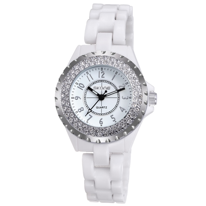 SKONE Brand Ladies Ceramic Watch Classic Fashion Clock Female Bell Rhinestone Dress Waterproof Women'S Watches Relogio Feminino enlarge