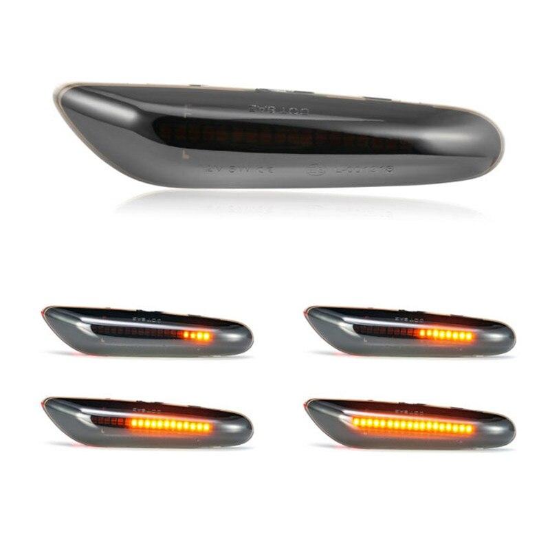1 par dinámico que fluye coche luces LED de posición lateral de señal de vuelta de las luces para BMW E90 E91 E92 E93 E36 E46 E60 E82 E83 E87 E88 X1 X3 X5