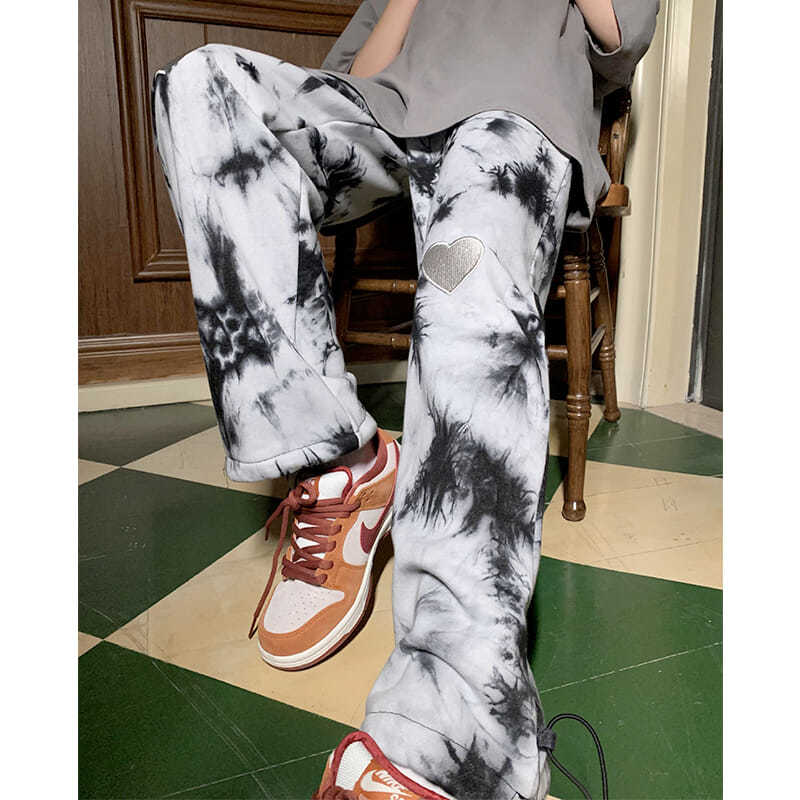 Casual pants love tie-dye spring and summer trend Korean version of loose wild sports wide legs and