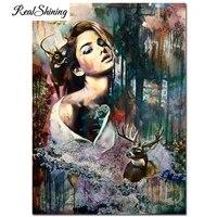 Elk et beaute decoration de maison   Peinture murale en diamant  point de croix 5d broderie en diamant abstraite pour femmes  vente decoration de maison FS7136