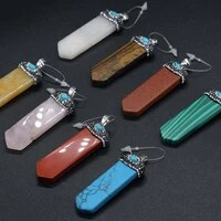 natural stone sword shape charm pendant for jewelry making diy necklace bracelet accessories size 18x55mm