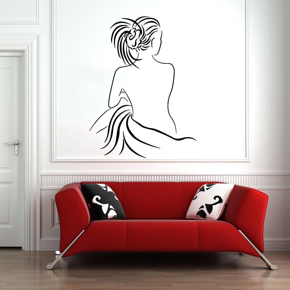 Feminino de volta decalque da parede do vinil para o quarto sexy menina nua adesivos de parede para casa de banho nodic decoração para casa auto-adesivo w909