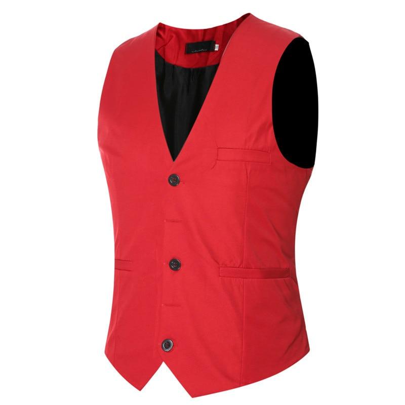 Otoño Invierno de cuello en V Casual para hombre vestido de chaleco sin mangas rojo Formal chaleco chaqueta Chaleco de moda de los hombres de talla grande 5xl 6xl