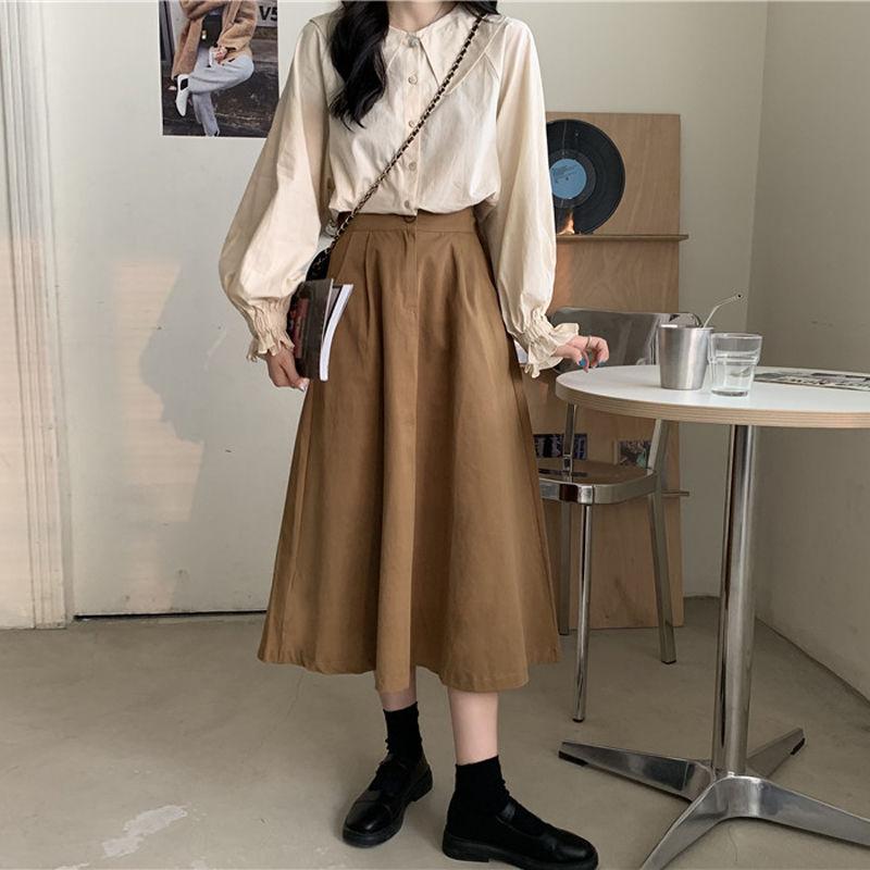 elegant high waisted solid color midi skirt for women HOUZHOU Vintage Long Skirts Women Elegant High Waisted 90s Aesthetic Midi Skirt for Girls Autumn Korean Fashion Preppy Style