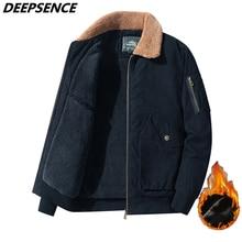 Men Winter Jacket Thick Fleece Corduroy Keep Warm Oouterwear Men Cotton England Loose Plus Size Lape