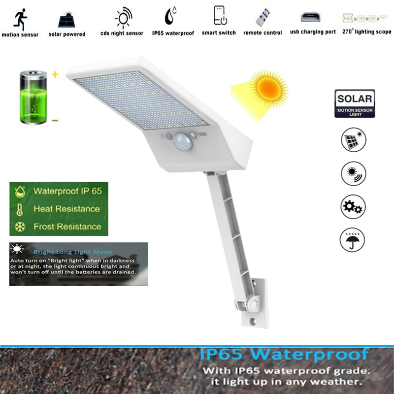 48 led Solar Light 3 Modes Outdoor Waterproof Lightg for Garden street Rotable Pole Lamp remote con