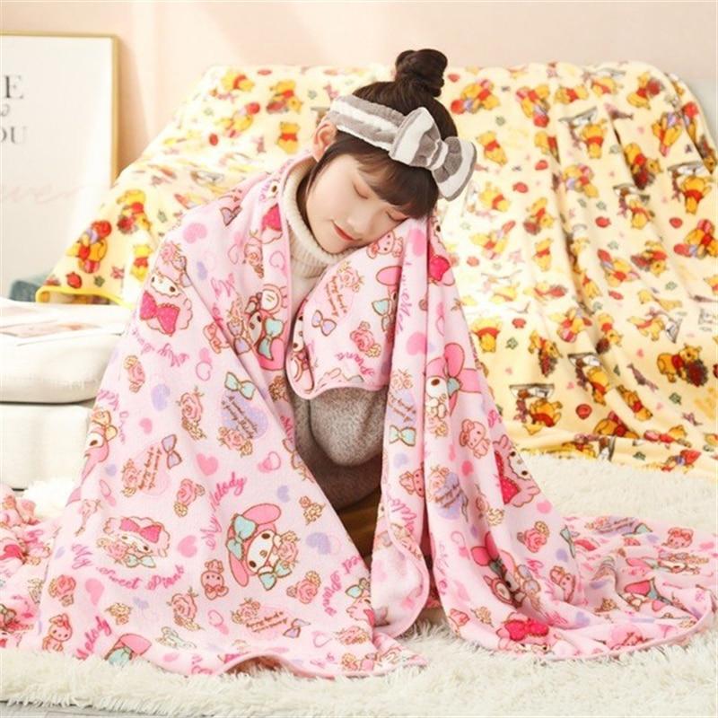 Cartoon Flannel Blanket Warm Queen Size Japanese Anime Bed Sofa Sleeping Flatsheet Bedding Throw Bedspread Gifts For Girl