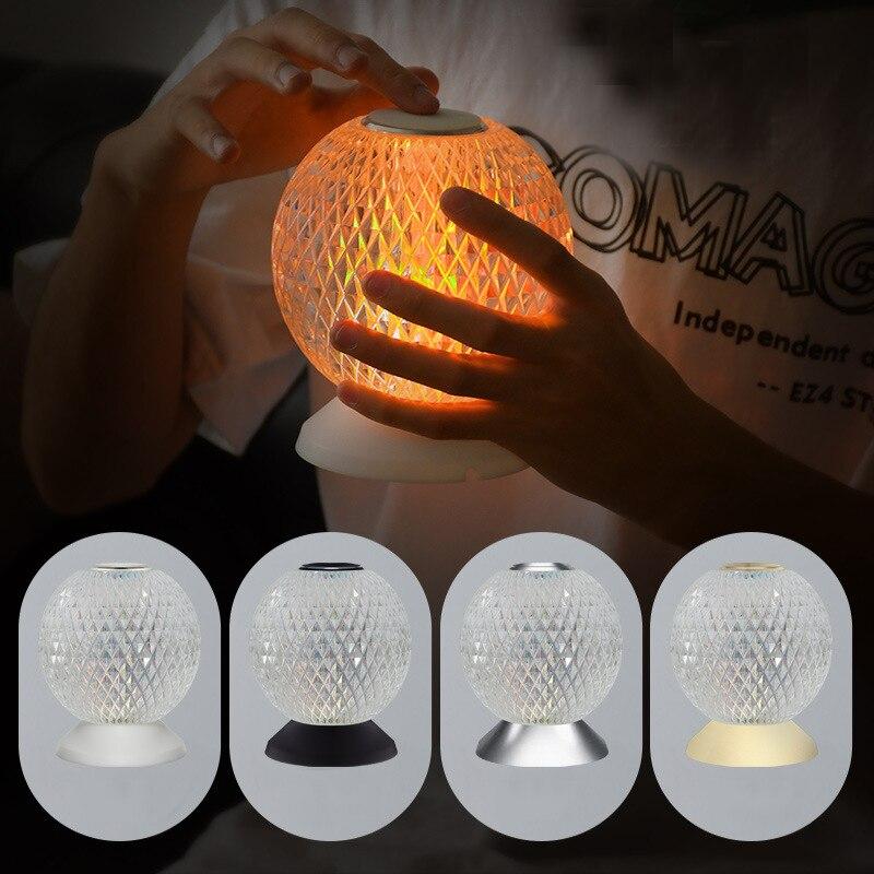 Italian Kartell Battery USB Night lights Touch Sensor Bed Lamp Decor Restaurant Table Lamps Acrylic diamond Desk light Fixtures