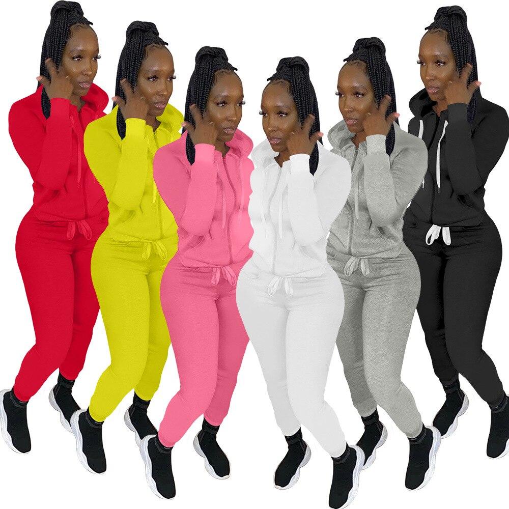 Осенний женский спортивный костюм, комплект из двух предметов, рубашка с капюшоном и длинные брюки, однотонный спортивный костюм, одежда дл...