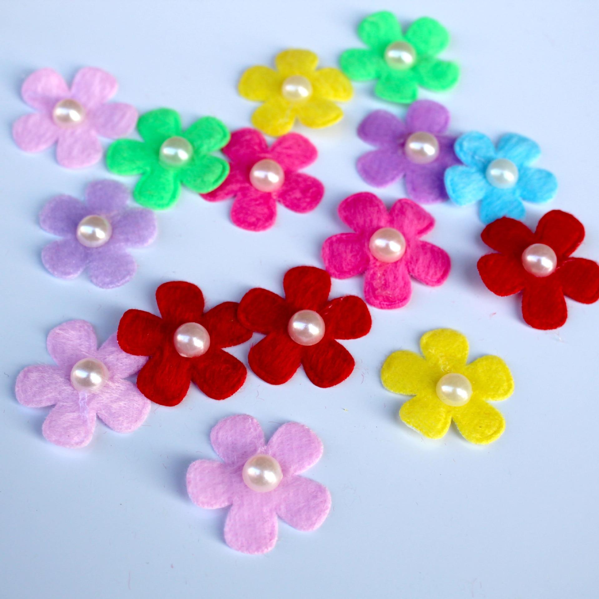 T-N 100PCS Bunte Perle Handgemachte Perle Blume Fühlte Tuch Haar Seil DIY Handgemachte Accessoires Aufkleber Applique Patches Filz Pads
