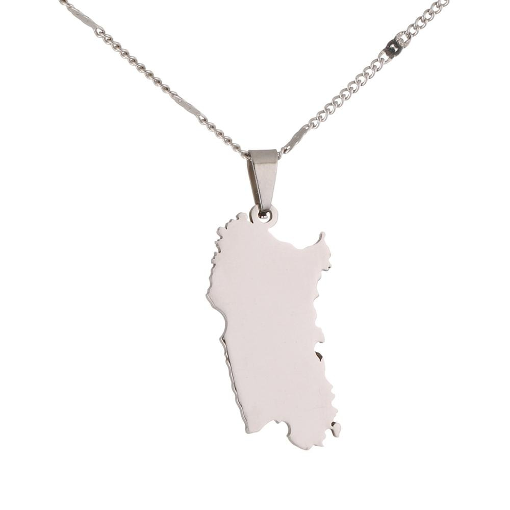 Acero inoxidable Color plata ITALIA Sardinia mapa colgante collar Color oro Sardegna mapa cadena joyería