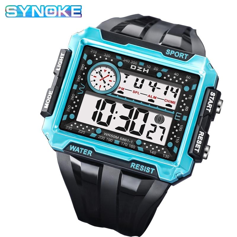 SYNOKE Digital Men's Watches 5Bar Waterproof Blue Big Dial Sport Clock Military Male Electronic Wrist Watch New reloj de hombre