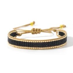 Nova chegada miyuki pulseiras & bangles turco jóias preto corrente pulseras sorte manguito frisado pulseiras femininas artesanal