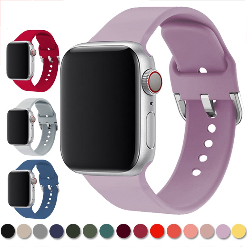 silicone strap for apple watch 42mm 38mm 44mm 40mm strap rubber bands for iwatch bracelet series 5 4 3 2 1 red blue green black Strap For Apple Watch band 6 5 4 bands 38mm 42mm Sport Silicone Bracelet correa For iWatch series 5 4 44mm 40mm Rubber Watchband