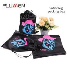 50Pcs Wig Hair Extention Storage Bag Black Pink Customized Logo Silk Satin Bag With Drawstring Gift