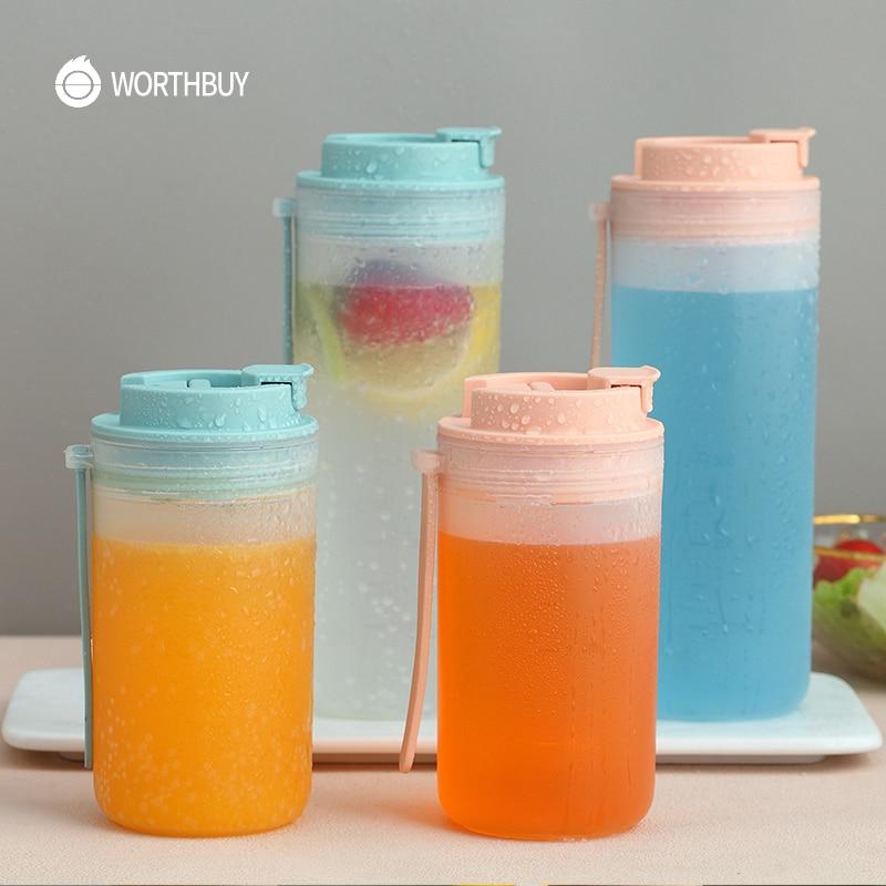 WORTHBUY Botella de agua de plástico con escala botella deportiva portátil para jugo de leche botella de beber a prueba de fugas cocina niños Drinkware