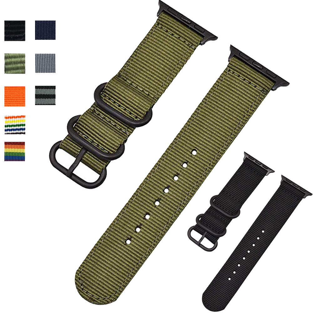 sport nylon fabric watch band for apple watch 38mm 42mm strap soft watch loop for iwatch 5 4 3 2 1 watchband for iwatch bracelet Nylon strap For Apple Watch band 44 mm/40mm iwatch Band 38mm 42mm Sport bracelet canvas watchband for apple watch 5 4 3 2 1