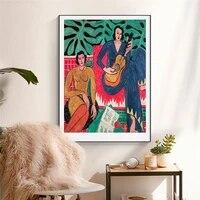 Affiche de femme abstraite francaise Matisse  toile de mode Vintage  peinture murale nordique  images imprimees pour decoration de maison