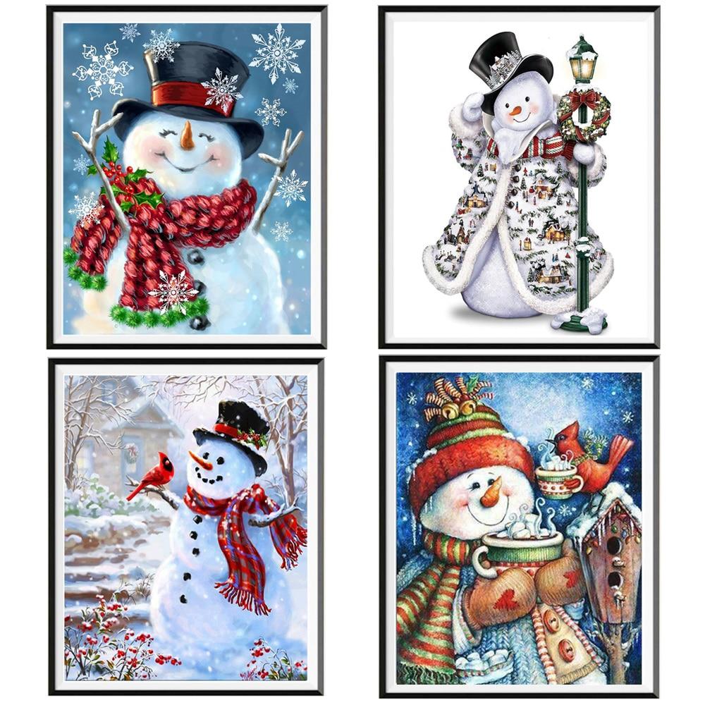 5D diamond painting full diamond snowman full circle full diamond DIY handmade cross stitch kit children handmade Christmas pres