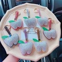 creative leahter diamond rhinestones apple keychain cute fruit bag pendant car keychain pendant small gift