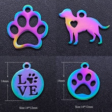 5 sztuk/partia 100% ze stali nierdzewnej pies łapa miłość kot drukuj diy Charms z Rainbow Plated hurtownie urok na naszyjnik