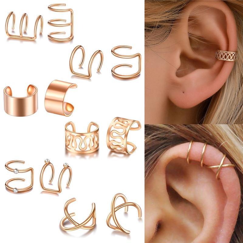 12pcs / set fesyen warna emas manset telinga anting klip daun untuk - Perhiasan fesyen - Foto 2
