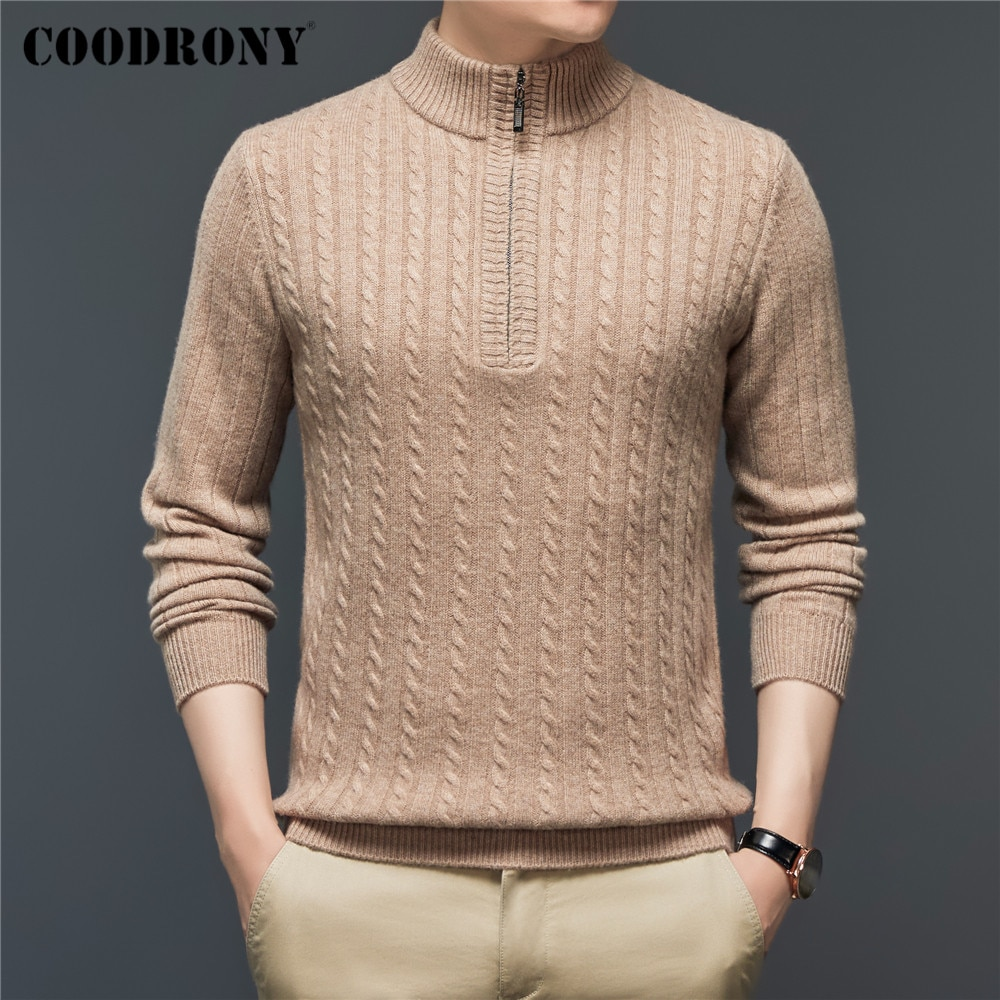 COODRONY Winter Thick Warm Fashion Zipper Turtleneck Sweater Men Clothing 100% Pure Merino Wool Cashmere Knitwear Pullover C3131