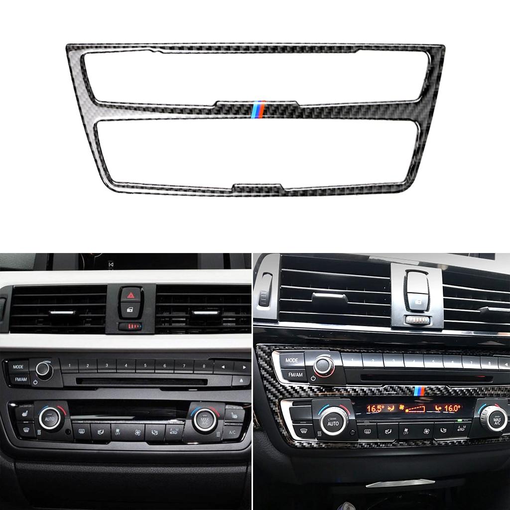 Para BMW F30 F34 1 serie accesorios de coche Interior de fibra de carbono aire acondicionado CD consola Panel cubierta Trim Car Styling