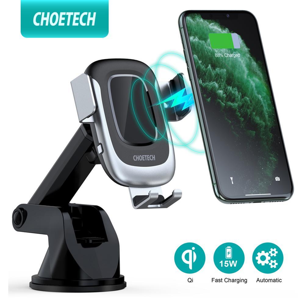 CHOETECH-حامل شاحن سيارة لاسلكي ، حامل هاتف سريع 15 واط ، لهاتف iPhone Samsung Huawei Xiaomi