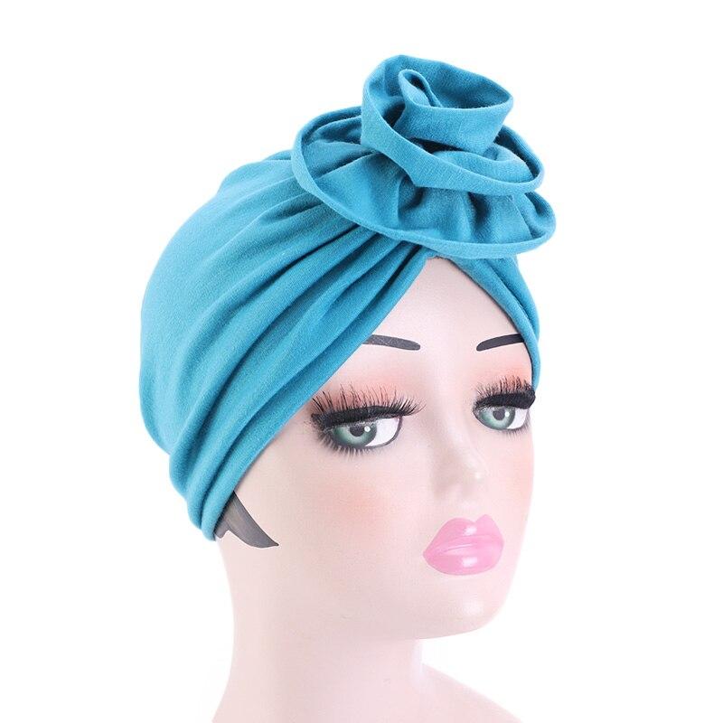 Женская богемная Шапка-тюрбан с цветочным рисунком, однотонная шапочка, аксессуары для волос, индийская шапка, мусульманский шарф, шапка, го...