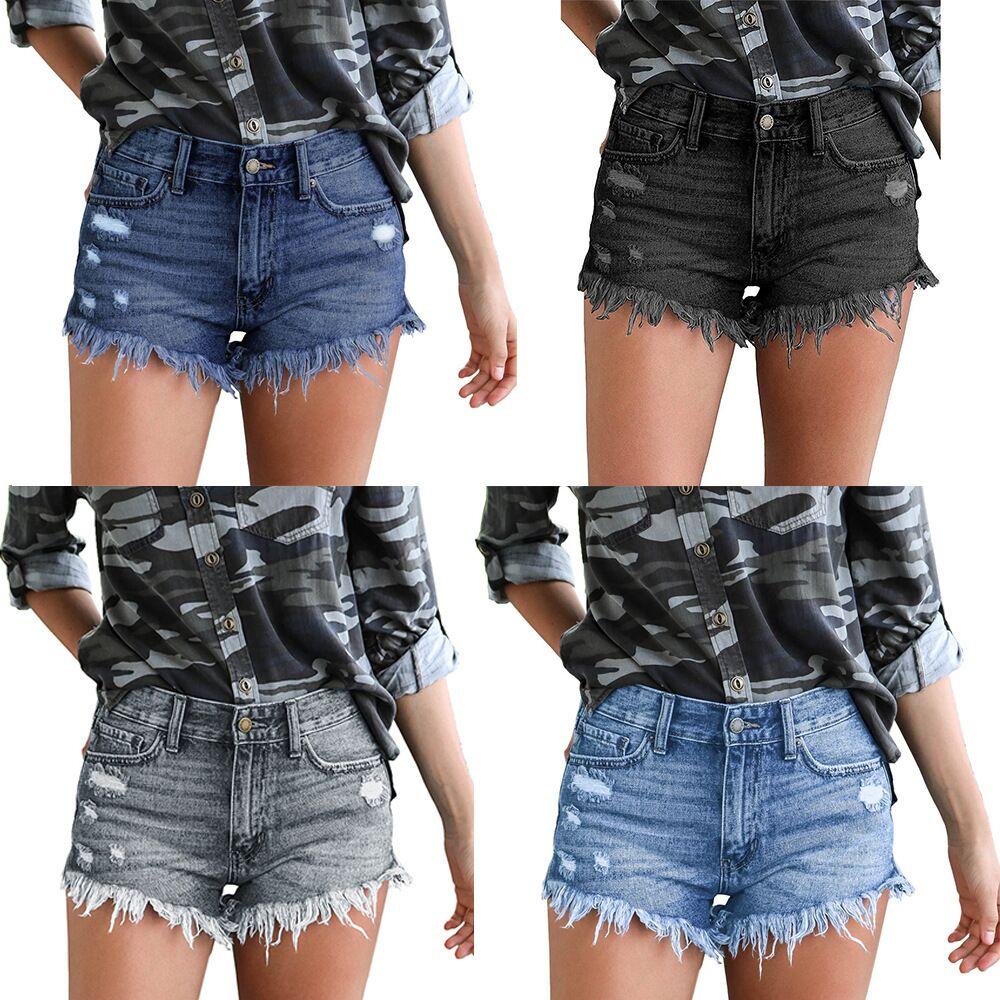 2020 new ladies denim shorts ripped hole tassel jeans woman summer fashion casual cool high waist sexy