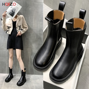 HQFZO Slip On Women Ankle Boots Thick Bottom Platform Women Shoes Botas De Mujer Botines Combat Boots For Women Black Mujer